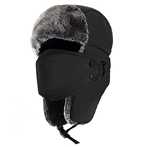 Mens Winter Hat - Mysuntown Unisex Winter Trooper Hat Hunting Hat Ushanka Ear Flap Chin Strap and Windproof Mask (Black)