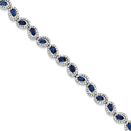 Sterling Silver Open Back Blue & Clear CZ Oval Fancy Link Bracelet Box Catch Length 7 Inch