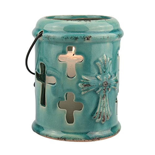 Stonebriar Small Ceramic Turquoise Hurricane Candle Lantern with Religious Cross Design, For Table Top, Mantle, or Wall Hanging Display, Indoor & Outdoor Use - Collection Small Hanging Lantern