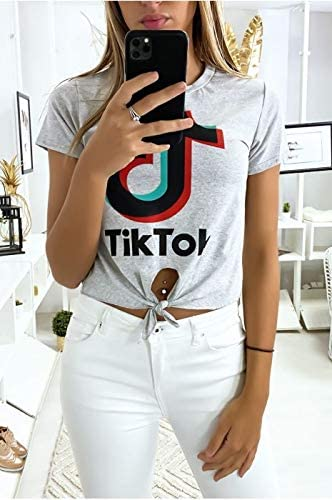 DCC Tee Shirt Femme Type TIK TOK Manches Courtes Plusieurs Couleurs Shirts