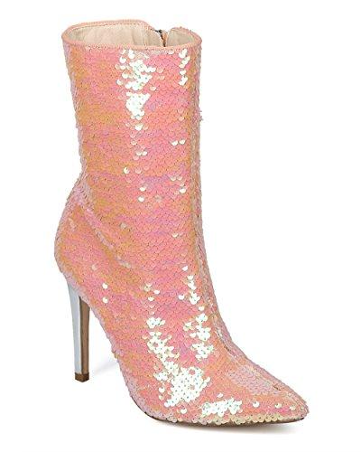 Alrisco Femmes Paillettes Réversible Pointe Pointue Stiletto Botte Haute - Hf57 Par Cape Robbin Collection Rose Sequin
