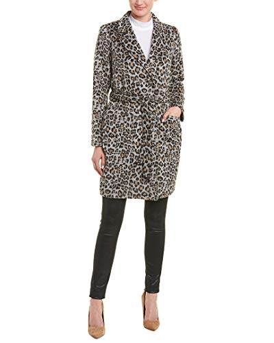 cupcakes and cashmere Women's Fabrice Leopard Wool Blend wrap Coat Medium