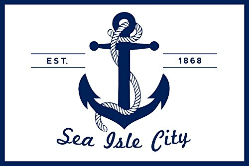 Sea Isle City, New Jersey - Blue and White Anchor (16x24 SIGNED Print Master Giclee Print w/ Certificate of Authenticity - Wall Decor Travel - City Jersey The W