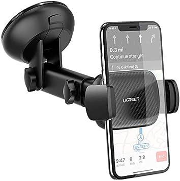 UGREEN Soporte Móvil Coche para Parabrisas, Porta Movil Coche en Ventosa Salpicadero con 360°Sujeción Brazo Extensible Soporte Portatil para iPhone11Pro MAX X 8,Huawei P40 P30, Samsung S20 Note 10
