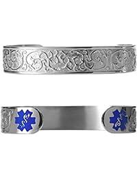 """Custom Engraved Elegant Filigree 316L Medical Alert Bracelet -6"""" Cuff (fits 6.5-8.0"""")"""