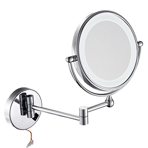 GuRun Wall Mount Magnifying Mirror With Light,7x Magnification,8 inches,Chrome Finish M1805D (8 inch switch,7) ()