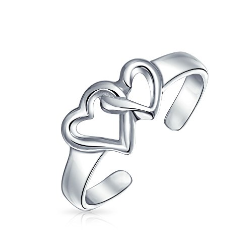 (Double Open Heart Shape Interlocking Midi Toe Ring For Women For Teen Polished 925 Silver Sterling Adjustable)