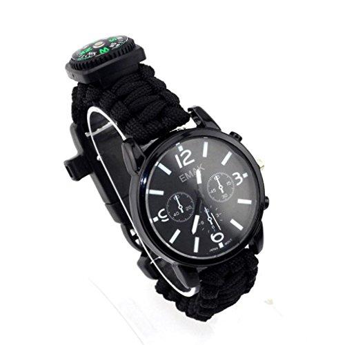 ec2cde2fd56 Tiean Outdoor Survival Watch Bracelet Paracord Compass Flint Fire Starter  Whistle New (Black)