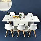 expandable dining table HOMY CASA Dining Table Extensible Flexible Seating Wooden Oak White Desk 160-205cm for 6 to 8 Persons for Dining Room, Farmhouse, Kitchen, Restaurant Even Any Small Space