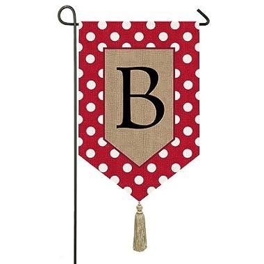Evergreen Burlap Polka-Dot Welcome Monogram B Garden Flag, 12.5 x 18 inches
