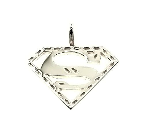 (Sterling Silver Superman Charm (Small) Come With a Free Silver Cubin Chain)