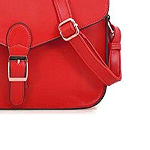 TOOGOO (R) Borsa Cartella Tracolla con Bottone Vintage Preppy Rosso Nuovo per Donne Ragazze