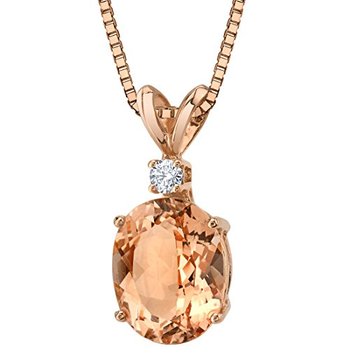 14 Karat Rose Gold Oval Shape 2.50 Carats Morganite Diamond Pendant