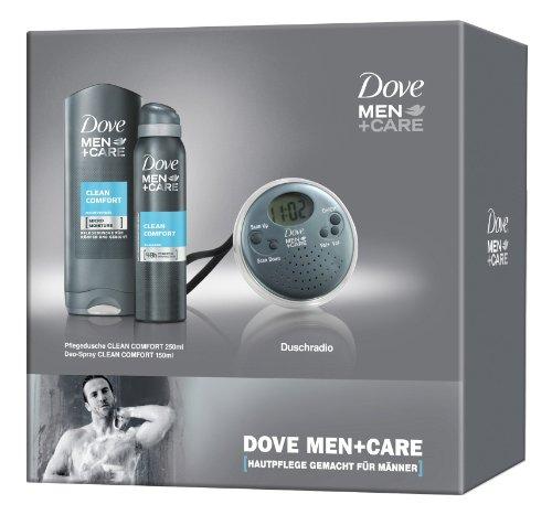 Dove Men + Care Geschenkbox + Duschradio Pflege dusche Clean Comfort 250ml, Deo-Spray Clean Comfort 150ml, 1er Pack (1 x 400 ml)