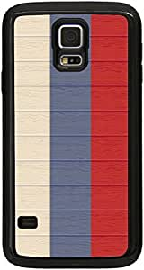 lintao diy Rikki KnightTM Russia Flag on Distressed Wood Black Galaxy S5 Tough-It Case Cover for Galaxy S5 (Double Layer case with Silicone Protection and thick front bumper protection)