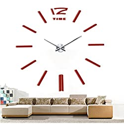Time Letters Numbers Modern DIY Frameless 3D Large Mirror Surface Effect Wall Clock Oversized Clock Living Room Décor Wall Sticker Decal Meeting Room Office Art Decor Decoration-(Red)
