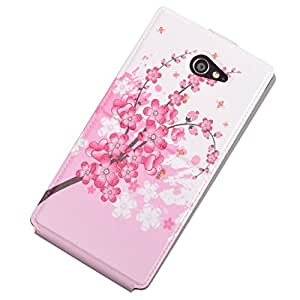Einzige Slim Fit UP DOWN Leather Case Cover with Stand for Sony Xperia M2 (Wintersweet) with Free Universal Screen-stylus