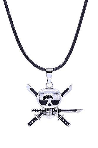 [ICEMPs One Piece Cosplay Accessory Roronoa Zoro Skeleton Pendant Necklace V1] (Roronoa Zoro Costumes)