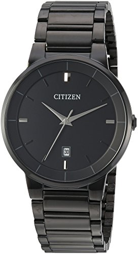 Citizen Men's ' Quartz Stainless Steel Casual Watch, Color:Black (Model: BI5017-50E) (Black Stainless Steel Mens Watch)