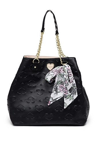 Betsey Johnson Quilted Hearts Betsey Signature Bag In A Bag Scarf Detail Black Trap Tote Shoulder ()