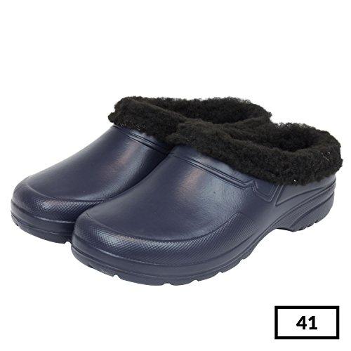 Sabot zoccoli ciabatte in materiale EVA con fodera in finto montone per donna uomo, taglia 41, colore: blu
