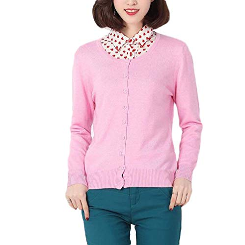 Outerwear Femme Printemps Automne Coat lgant Mode Jeune Jeune Unicolore Manteau en Tricot Festives Manches Longues Simple Boutonnage Slim Fit Jeune Mode Manteau (Color : Rosa, Size : L)