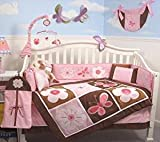 Soho Butterflies Garden BabyComplete Crib Nursery Bedding Set with Diaper Bag PLUS: FREE BABY CLASSIC PINK CARRIER FOR A VERY LIMITED TIME OFFER!!