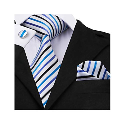 Necktie Handkerchief Stripes - Barry.Wang Mens Tie Set White Striped Silk Ties with Hanky Cufflinks
