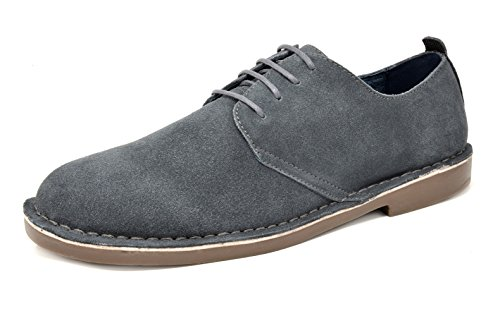 Bruno Marc Men's Francisco-Low Grey Suede Leather Lace Up Oxfords Shoes - 12 M US
