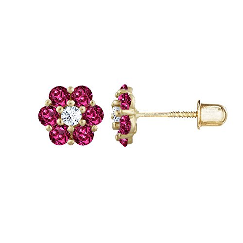14kt Solid Gold Kids Flower Stud Screwback Earrings - (Ruby Ring 14kt Gold Jewelry)