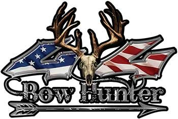 REFLECTIVE Bow Hunter Twisted Series 4x4 Truck Decal Kit with Arrow with American Flag Weston Arrow