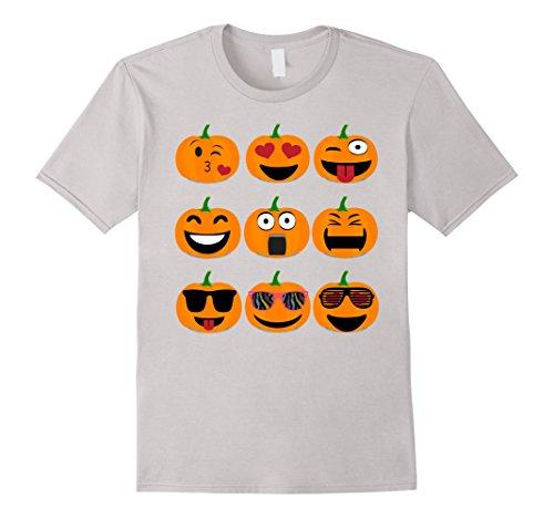 Men's Emoji Pumpkin Shirt Jack o lantern Halloween Thanksgiving 3XL Silver (Classic Jack O Lantern)