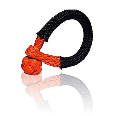QIQU Synthetic Soft Shackle for Boating ATV UTV SUV 4X4 Truck Recovery Together with Recovery Rope 1 Pack