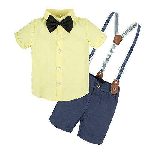 BIG ELEPHANT Baby Boys 2 Pieces Short Sleeve Shirt Suspender Shorts Set T73-Yellow-70 6-9 Months -