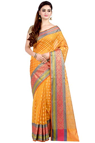 Chandrakala Women's Orange Cotton Silk Blend Banarasi Saree,Free Size(1081ORA)