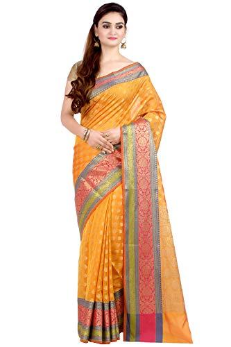 Saree Silk Traditional - Chandrakala Women's Orange Cotton Silk Blend Banarasi Saree,Free Size(1081ORA)