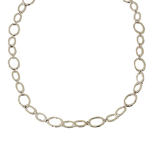 Miss Mimi - Womens Classic Vintage Connecting Circle Oval Links - Chain Statement Stranded Long Necklace (Silver Link ()