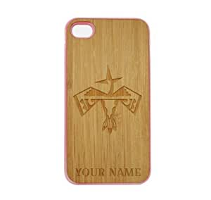 SudysAccessories Personalized Customized Custom Eagle On Wood Engraved Pink iPhone 4 Case - For iPhone 4 4S 4G - Designer Real Bamboo Back Case Verizon AT&T Sprint(Send us an Amazon email after purchase with your choice of NAME)
