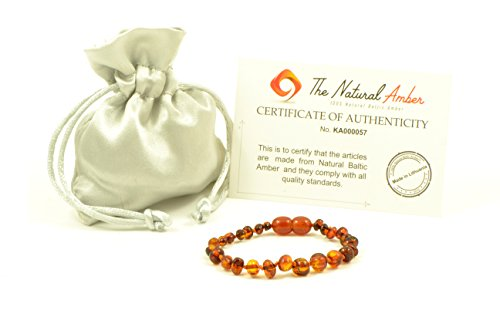 Baltic Amber Teething Bracelet / Anklet Mixed with Semi Precious Stones - Hand-Made from Certified Natural Baltic Amber Beads (5.5 inch (14cm), Light Cognac) Semi Precious Stones Amber