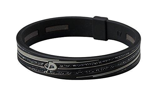 PHITEN Slashline Titanium Bracelet, Black/Gray, 17cm (6.7