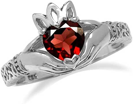 Natural Heart Shape Garnet 925 Sterling Silver Irish Claddagh & Triquetra Celtic Knot Ring