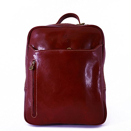 Dream Leather Bags Made in Italy Piel Verdadera Mochila En Piel Verdadera Con Bolsillos Delanteros Color Rojo - Peleteria Echa En Italia - Bolso Espalda