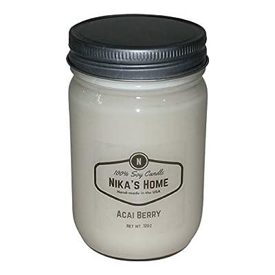 Nika's Home Acai Berry Soy Candle - 12oz Mason Jar