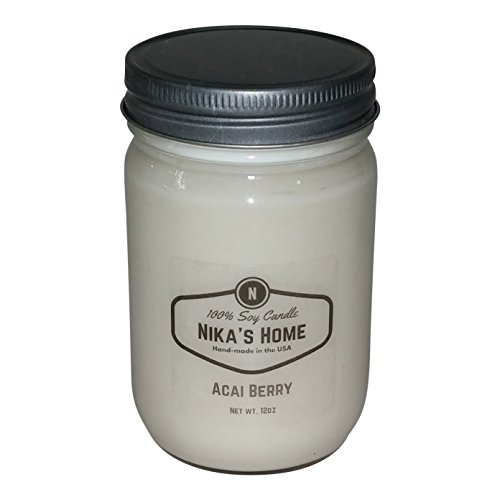 Mason Jar Soy Candle - Nika's Home Acai Berry Soy Candle - 12oz Mason Jar