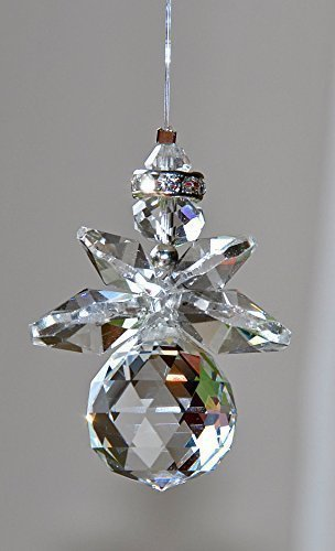 Hanging Crystal Angel Suncatcher, Rainbow Maker, Protection Guardian Angel Ornament, Healing (Balls Rondelles Crystal Swarovski)