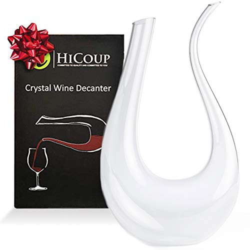 Wine Decanter by HiCoup - 100% Lead-Free Crystal Glass, Hand-Blown Red Wine Decanter/Carafe, Provides Intense Aerating in a Stunning U Shape Design