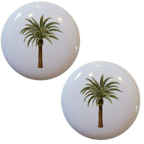 (Set of 2 Palm Tree Ceramic Cabinet Drawer Knobs )