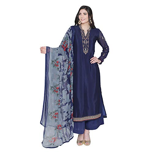 PinkShink Women's Readymade Blue Crepe Indian/Pakistani Salwar Kameez Dupatta (Best Salwar Suits For Women)