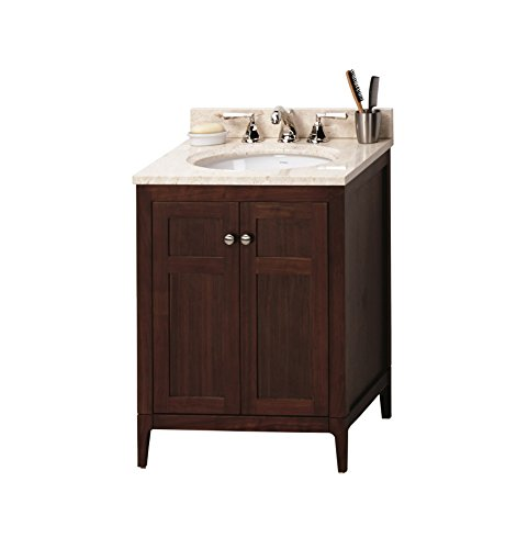 RONBOW Briella 24 inch Bathroom Vanity Set in American Walnut, Marble Bathroom Vanity with Top and Backsplash in Beige with 8 inch Widespread Faucet Hole, White Oval Vessel Sink (American Standard Hamilton Toilet)
