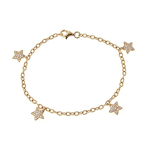 18K Yellow Gold & Diamond Star Ankle Bracelet